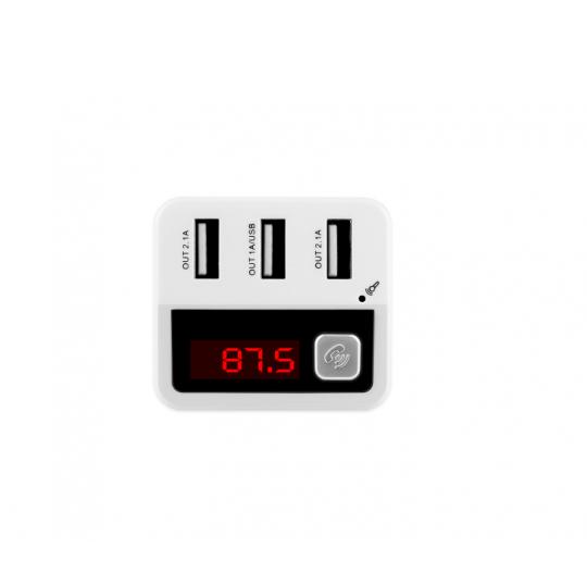 Car kit auto cu functie modulator fm si 3 porturi usb 5.2A, alb