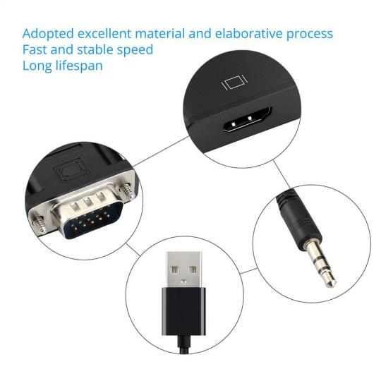 Convertor adaptor VGA tata la Hdmi mama cu audio si cablu micro usb, negru