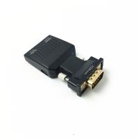 Adaptor VGA tata la Hdmi mama convertor cu audio ce suporta semnal 1080P mufa aurie, negru