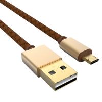 Cablu de date Ldnio din piele ecologica cu mufa metalica micro usb 1.2m fast charging, maro