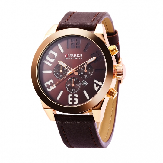 Ceas casual barbatesc Curren Quartz  Chronometer cu afisaj data  8198-2, maro