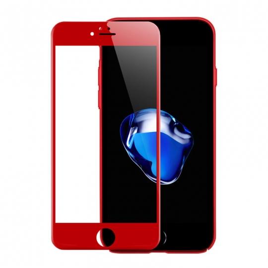Folie protectie sticla securizata 3D curbata pentru Iphone 7 , rosu