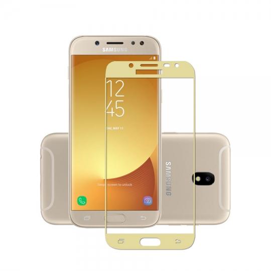Folie sticla securizata fullsize pentru Samsung J3 2017 SM-J330F (versiune Europa), auriu