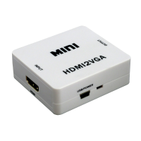 Adaptor mini convertor HDMI la VGA Full HD 1080p video si audio stereo, alb