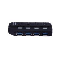 Hub usb cu 4 porturi 3.0 5Gb/S cu intrerupator cu led si cablu usb, negru