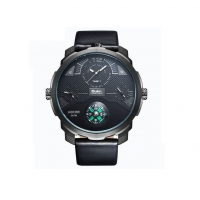 Ceas casual Oulm HP3749 Quartz 3 time zone si busola, negru