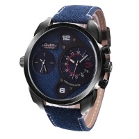 Ceas sport Oulm HP9316 Denim dual time zone, albastru