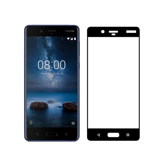 Folie protectie sticla securizata full size pentru Nokia 8, negru