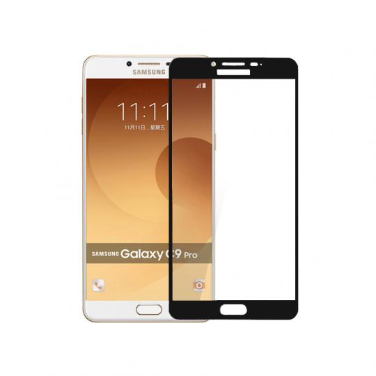 Folie protectie sticla securizata full size pentru Samsung GalaxY C9 Pro, negru