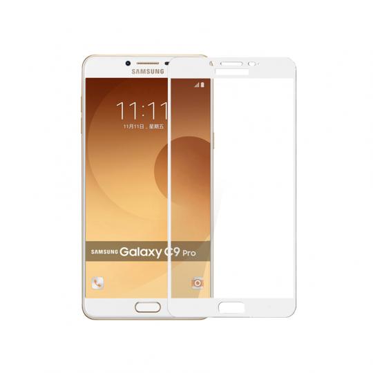 Folie protectie sticla securizata full size pentru Samsung GalaxY C9 Pro, alb