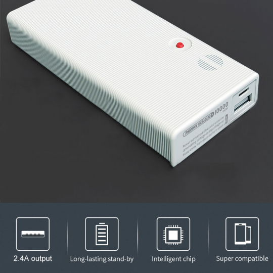 Acumulator extern power bank Remax RPP-88 de 10000 mAh 5V 2.4A, alb