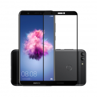 Folie protectie sticla securizata full size pentru Huawei P Smart, negru