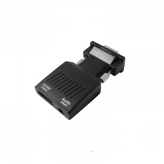 Adaptor VGA tata la Hdmi mama convertor cu audio ce suporta semnal 1080P mufa argintie, negru