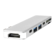 Hub Apple MacBook Pro 13 si 15 inch 7 in 1 Card Reader, Thunderbolt 3 cu port HDMI si 2 x USB 3.0, argintiu