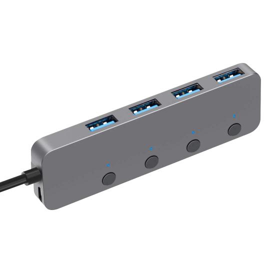 Hub pentru transfer date cu 4 porturi USB 3.0 si intrerupator, space gray