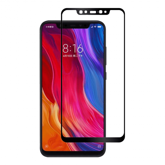 Folie protectie sticla securizata full size pentru Xiaomi Mi 8, negru