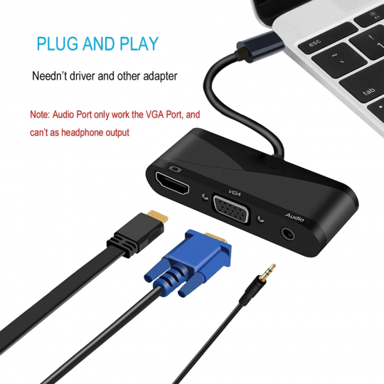 Adaptor convertor 3 in 1 USB 3.1 Type-C la HDMI 4K@60Hz, VGA si port audio 3.5mm, negru
