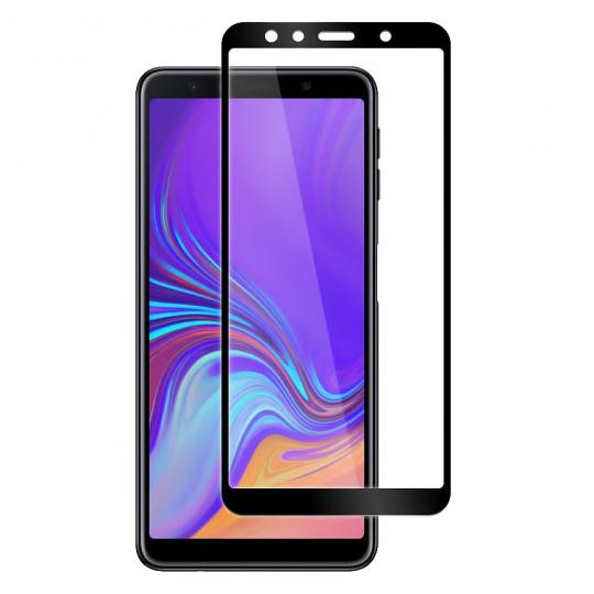 Folie protectie pentru Samsung Galaxy A7 2018 din sticla securizata full size, negru