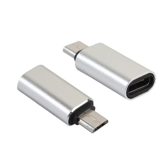 Adaptor USB type-C mama la Micro USB tata, argintiu