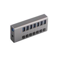 Hub USB 3.0 cu 7 porturi USB 3.0 pentru cu buton de intrerupere activitate si alimentare priza 12V, gri
