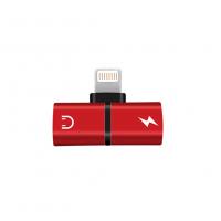 Mini adaptor splitter lightning dual port pentru casti si incarcare separata pentru Iphone/Ipad , rosu