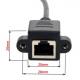 Cablu adaptor extensie RJ 45 tata 90 grade jos la RJ45 mama cu sistem de prindere in suruburi, 30cm