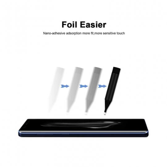 Folie de protectie din sticla temperata pentru Samsung s10 curbata full glue cu adeziv UV, transparent