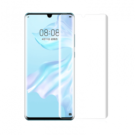 Folie de protectie din sticla temperata pentru Huawei P30 Pro curbata full glue cu adeziv UV, transparent