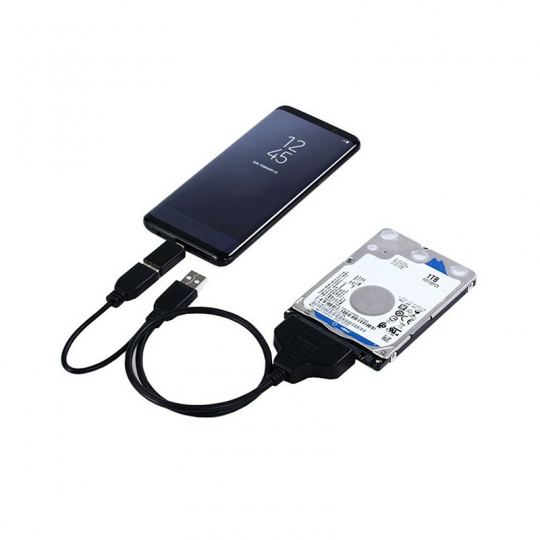 Cablu adaptor convertor SATA 22 ( 7 + 15 ) pini la USB 2.0  pentru HDD/SSD 2.5inch