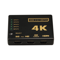 Switch HDMI 2.0 HDCP 2.2 4K x 2K 60Hz RGB 4:4:4 HDR10 5in 1 out cu teleocmanda IR, negru