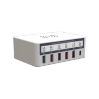 Statie de incarcare universala QI Wireless fast charge, 4 porturi USB 2.0 QC, 1x USB 3.0 QC, 1 USB Type C, cu afisaj LED , alb