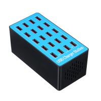 Statie de incarcare 100W Smart cu 20 porturi USB 5V 20A si ventilator , albastru