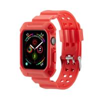 Curea cu husa 2 in 1 sport antisoc din silicon pentru Apple Watch 4 Series 44mm , rosu