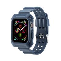 Curea cu husa 2 in 1 sport antisoc din silicon pentru Apple Watch 4 Series 44mm , albastru