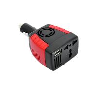Invertor de tensiune DC 12V la AC 220V , 150W, adaptor soclu auto la soclu priza EU/UK si USB 2.1, rosu