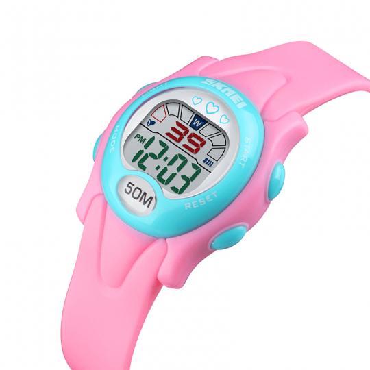 Ceas de copii sport SKMEI 1478 waterproof 5ATM cu alarma, cronometru, data si iluminare ecra, roz
