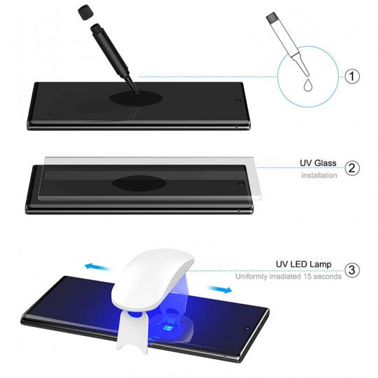 Folie protectie sticla temperata pentru Samsung Galaxy Note 10 Pro curbata full glue cu adeziv UV, transparent
