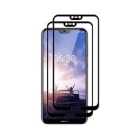 Set 2 folii protectie sticla securizata fullsize pentru Nokia 6.1 Plus / X6, negru