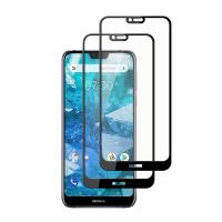 Set 2 folii protectie sticla securizata fullsize pentru Nokia 7.1 , negru