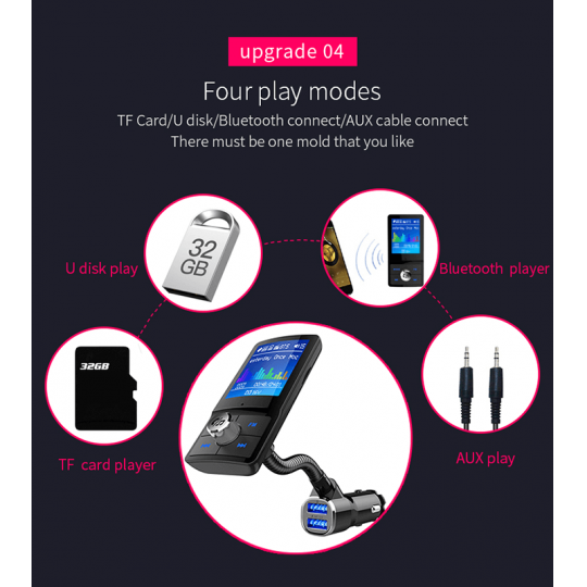 Car kit BC43 auto bluetooth 4.2 cu handfree, dual USB, quick charge 3.0, functie modulator FM, mp3 player, TF card, LCD color, AUX,negru