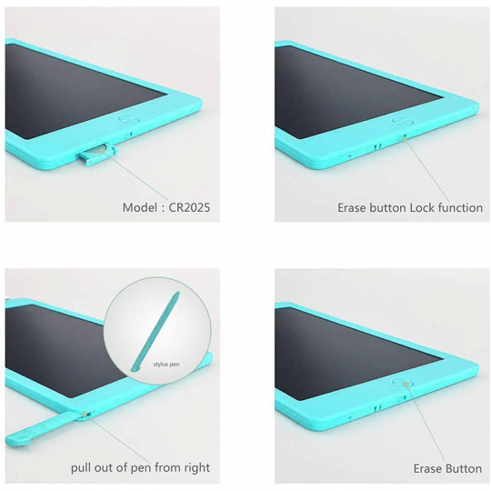 Tableta digitala 10 inch pentru scris si desenat cu ecran LCD, albastru