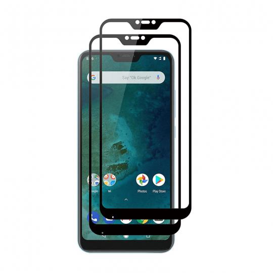 Set 2 folii protectie sticla securizata fullsize pentru Xiaomi Mi A2 Lite / Redmi 6 Pro, negru
