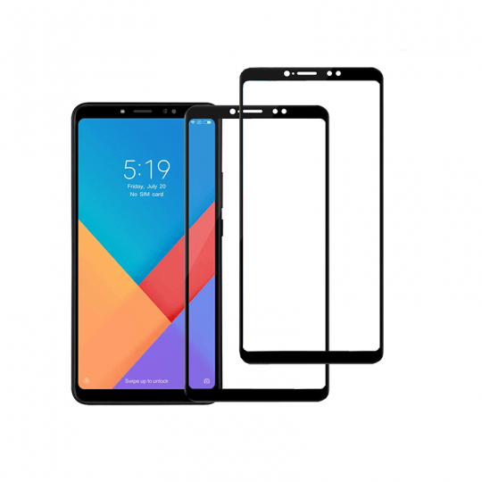 Set 2 folii protectie sticla securizata fullsize pentru Xiaomi Mi Max 3, negru
