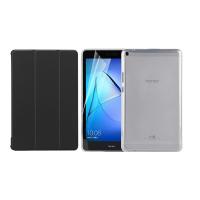 Set 3 in 1 husa carte, husa silicon si folie protectie ecran pentru Huawei MediaPad T3 8, 8 Inch, negru