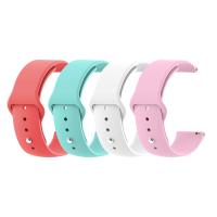 Set 4 curele universale din silicon 20mm compatibile cu Samsung Gear S2 Classic, Watch Active, Watch 42mm, Huawei Watch 2/ 2 Pro, alb, roz, rosu, turcoaz